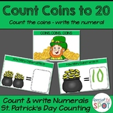 Count the Coins Counting and Writing Numerals * St. Patricks Day