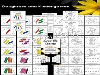 Sight Word Reader - Count the Crayons - Color/BW