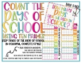 Count the Days of School Using Ten Frames:  Colorful Confetti Theme