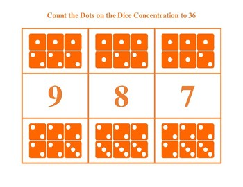 Count the Dots on the Dice to 36 Orange Game