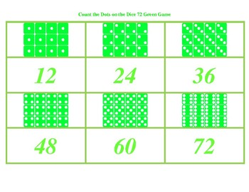 Count the Dots on the Dice to 72 Green Game