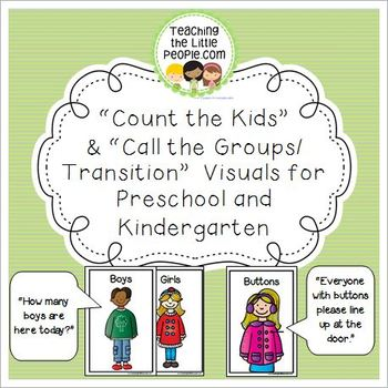 """""""Count the Kids"""" & """"Call the Groups/Transition""""  Visuals for PK and K"""