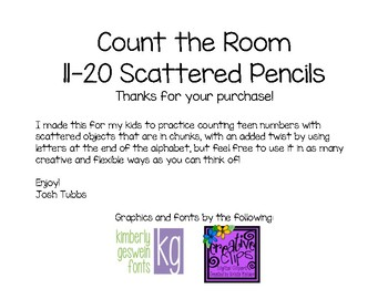 Count the Room 11 to 20 Scattered Pencils