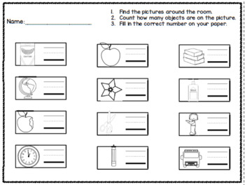 School Number Identification and Formation Activity Count the Room Freebie