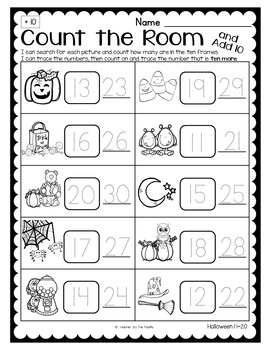 HALLOWEEN Math - Count the Room – Ten Frames and Numbers 11 - 20