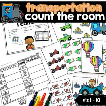 Count the Room Numbers 1-10 | Transportation Theme |