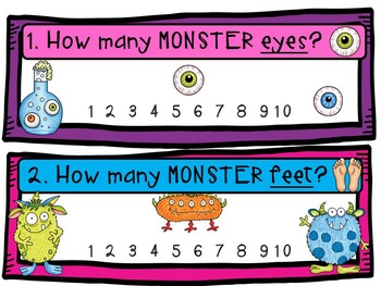 Halloween Count the Room & Printables-Monster Lab theme (Centers, counting 1-10)