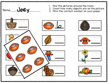 Fall Math Number Identification and Writing Activity:  Count the Room