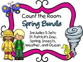 Count the Room - Spring BUNDLE {K.CC.A.3 & K.NBT.A.1}