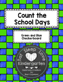 Count the School Days--Green and blue checks
