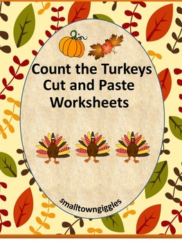 Thanksgiving Cut and Paste Math Counting Addition & Subtraction Activities