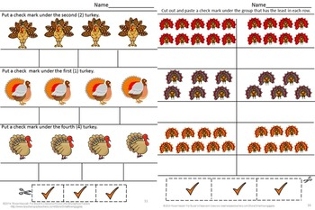 Thanksgiving Math Center Counting Turkeys Cut Paste Activities Fine Motor
