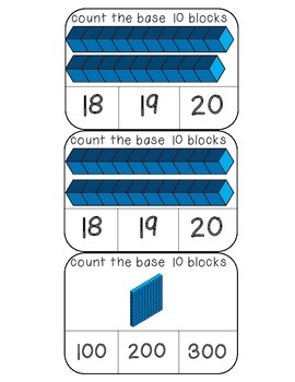 Count the base 10 blocks numbers 1-20 and 100 clothespin activity cards
