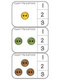Count the buttons numbers 1-20 clothespin activity cards