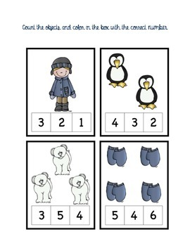 Count the objects and color in the correct number (winter theme)