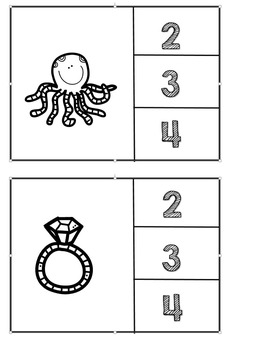 Count the syllables clip it center game - Spanish!