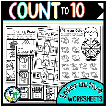 Count to 10 Interactive Worksheets {Preschool & Kindergarten}