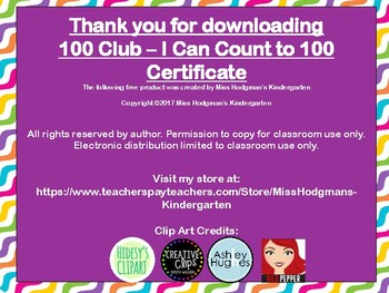 Count to 100 Award - The 100 Club