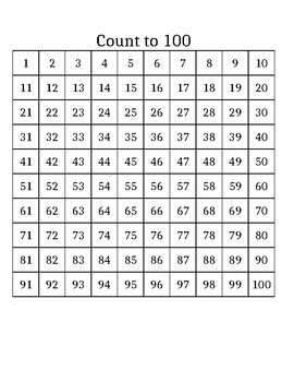 Count to 100 Chart