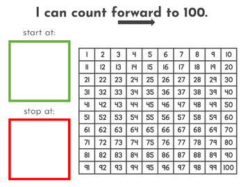Count to 100 Forward and Backward Kindergarten Math Center Game