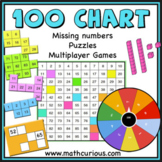 Count to 100-Missing Numbers, puzzles, games. Print and di