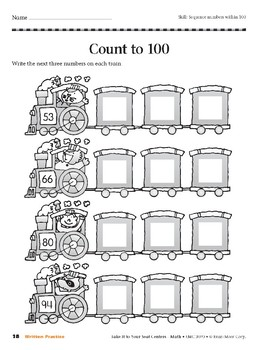 Count to 100 (Take It to Your Seat Centers Common Core Math)