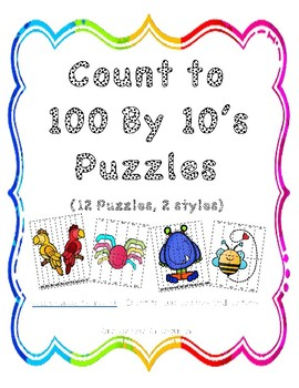 Count to 100 by 10 - Puzzles (12 puzzles in 2 styles)
