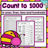 Numbers to 1000 in skip counting in ones, fives, tens, and hundreds worksheets!
