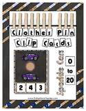 Count to 20 Clip Card Clothes Pin Math Center Printable ~ Car Transportation