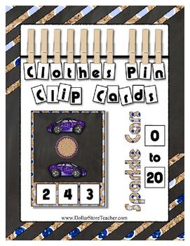 Count to 20 Clip Card Clothes Pin Math Center Printable ~