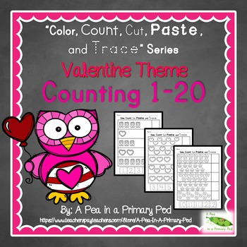 Count to 20 (Color, Count, Cut, Paste, and Trace: Valentine/February Edition)