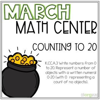 Count to 20 Manipulative Pots of Gold Kindergarten March Math Center