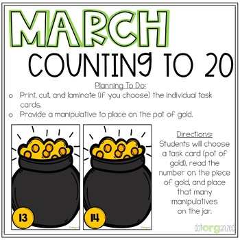 Count to 20 Manipulative Pots of Gold Kindergarten March Math Center
