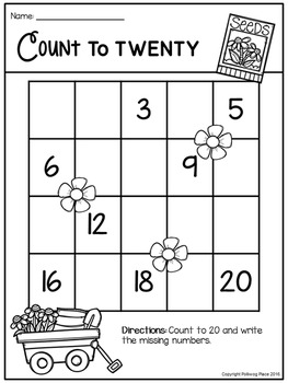 Count to 20 Number Sequencing Activity: Spring