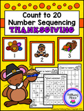 Count to 20 Number Sequencing Activity: Thanksgiving