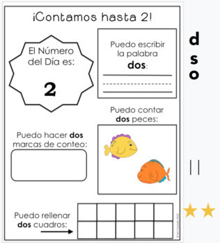 Spanish Numbers 1-20 (Number identification, writing, drawing)