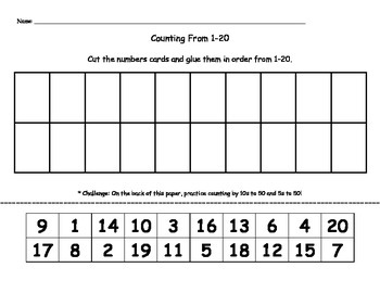 Count to 20 - Order Numbers