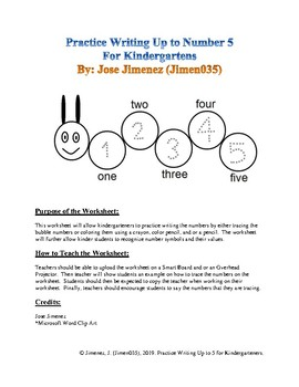 Count to 5 for Kindergarteners