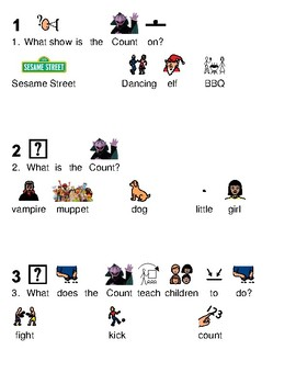 Count von Count - Sesame Street picture supported text lesson article