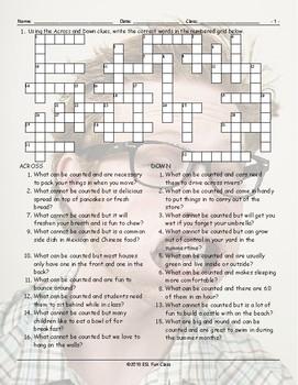 Countable-Uncountable Nouns Crossword Puzzle
