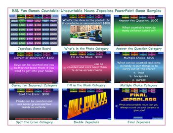 Countable-Uncountable Nouns Jeopardy PowerPoint Game