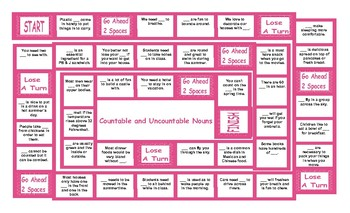 Countable and Uncountable Nouns Legal Size Text Board Game
