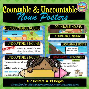 Countable and Uncountable Nouns Posters