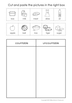 Countable and Uncountable Nouns Sorting Set