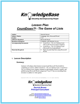 Countdown - The Game of Lists!