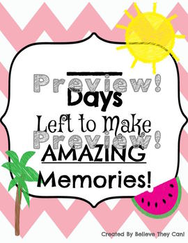 Countdown To Summer- Encouraging Countdown for the Classroom UPDATED VERSION