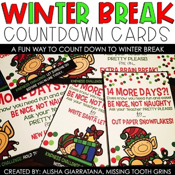 Countdown To Winter Break Activity Cards