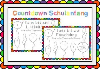 Countdown bis zum 1. Schultag