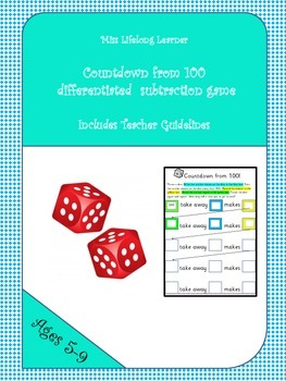 Countdown from 100 Subtraction Dice Game