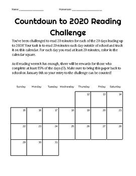 Countdown to 2020 Reading Challenge!